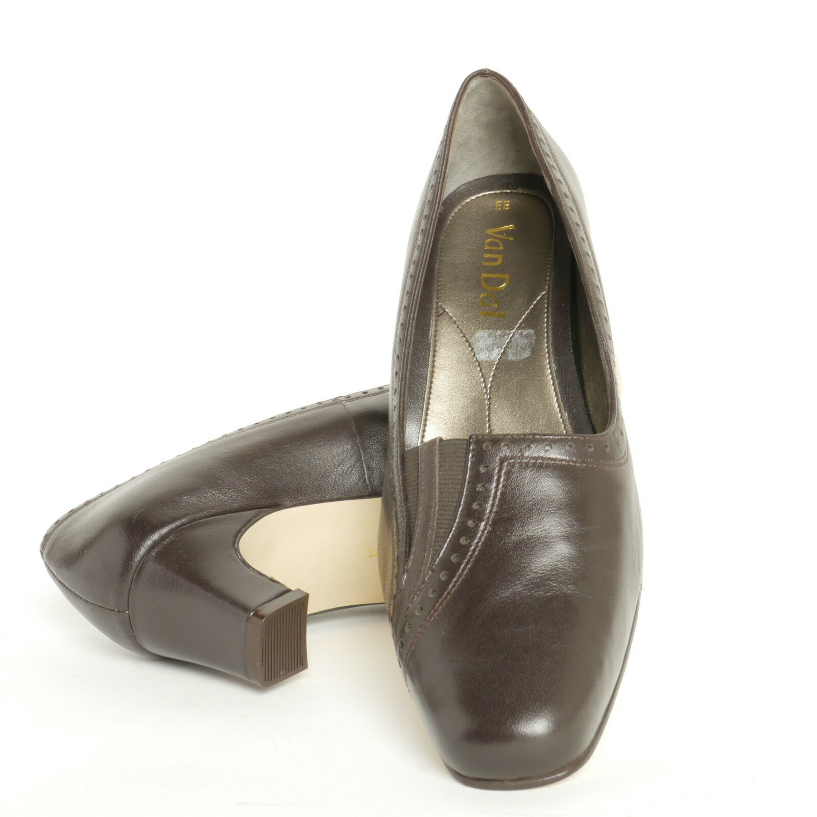 VAN DAL LADIES HEEL COURT SHOES WINONA IN BROWN LEATHER EE FITTING