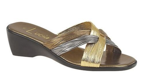 WOMENS SIZE 4 5 6 7 8 GOLD SILVER BROWN FAUX LEATHER WEDGE HEEL SLIP MULE SANDAL