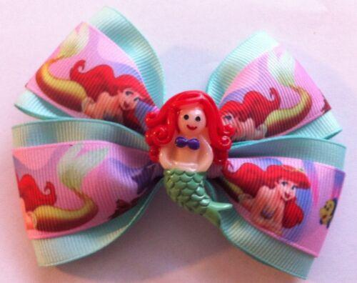 "Girls Hair Bow 4/"" Wide Ariel Little Mermaid Mint Green Grosgrain Alligator Clip"