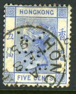 China-1882-Hong-Kong-5-Pale-Blue-QV-Wmk-CCA-SG-35-PERFIN-VFU-J791