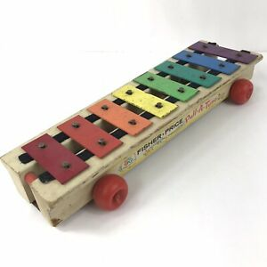 Vintage-1964-Fisher-Price-Pull-A-Tune-870-Xylophone-Pull-Toy-Wood-amp-Metal