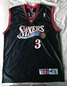 Details about Allen Iverson Philadelphia 76ers Sixers Champion NBA Jersey Black Size 48