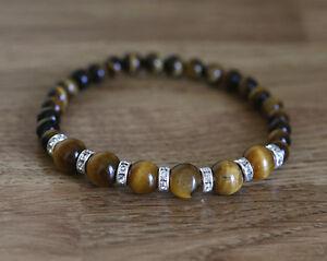 Bracelet-with-natural-6-and-8-mm-Tiger-039-s-eye-gemstones