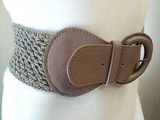 Women Fashion Beige Fabric Net Design Belt with Buckle Size  M L