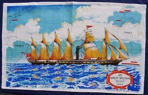 Vintage-Retro-Souvenir-Unused-IRISH-LINEN-Tea-Towel-SS-GREAT-BRITAIN-Ship-1843