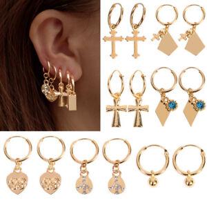 femmes-Boho-Style-cartilage-croix-coeur-boucle-d-039-oreille-creole-bijoux-Nouveau