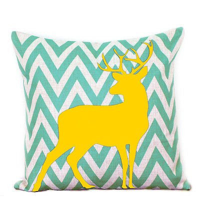 Aqua Chevron Yellow Deer Print Stripes Cotton Linen Pillow Cushion Cover 45cm