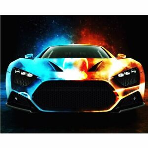 Cool Super Car Colourful Sports Racing Car Fun Paint By Numbers Canvas Art DIY