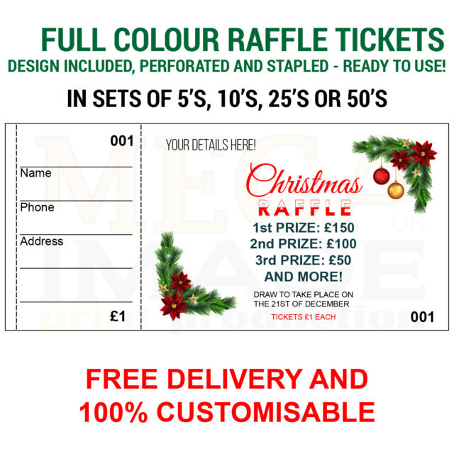 1000 Printed Personalised Raffle Prize Draw Tickets Events For Sale