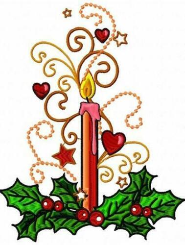 CHRISTMAS CANDLES  10 MACHINE EMBROIDERY DESIGNS CD or USB
