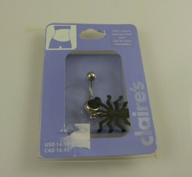 black Spider Crystal belly button navel ring piercing naval gothic Halloween
