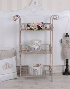 Details zu Vintage iron shelf trolley table shabby chic kitchen shelf  French country style