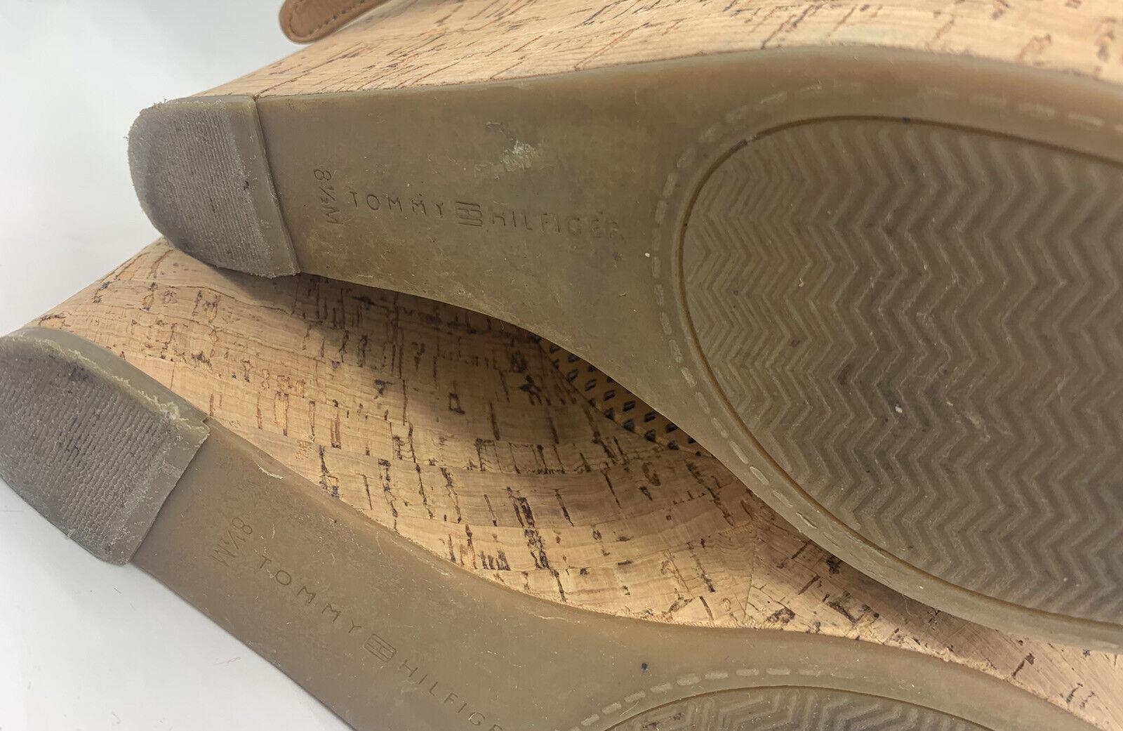 Tommy Hilfiger Size 8.5 M Tan Leather Cork Wedges - image 7