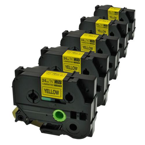 5 Schriftbänder kompatibel zu Brother P-Touch TZE-651 8m//24mm Schwarz auf Gelb