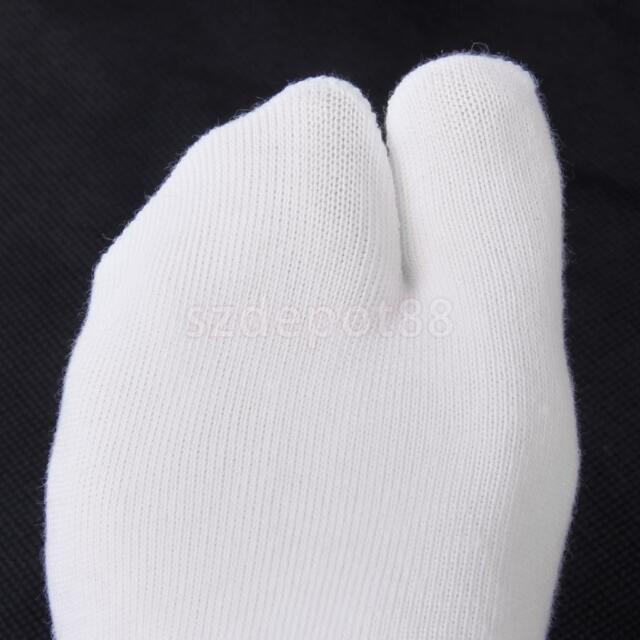 Pair Footful Unisex Fitness Split 2 Toe Socks Flip Flops Geta Socks Stretchy Wht