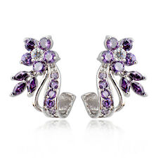 Purple White Zircon Floral Drop/Dangle Earrings 10K White Gold Filled Engagement