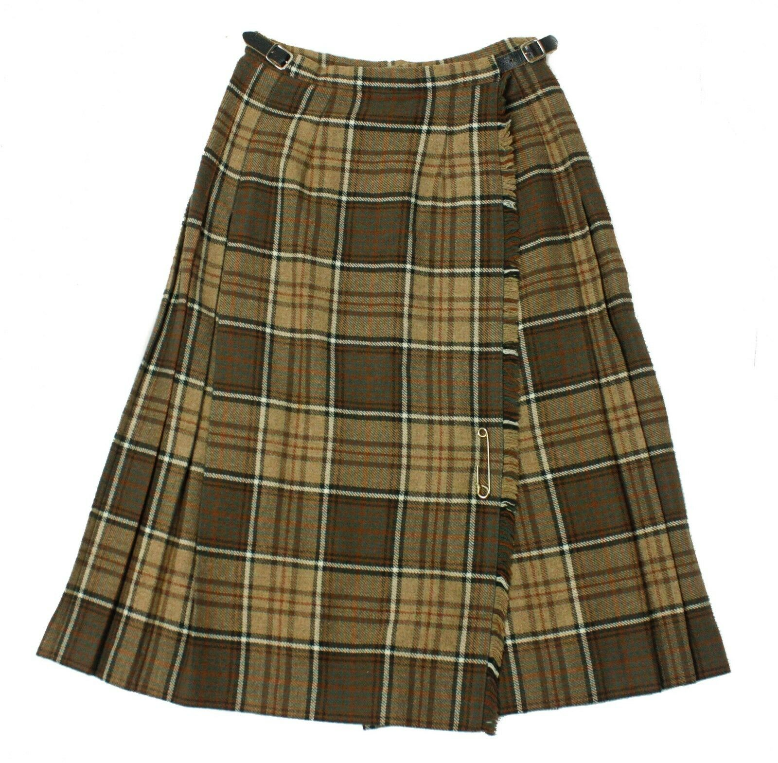 Laird-Portch Brown Plaid Wool Made Scotland Womens Wrap Kilt Style Skirt