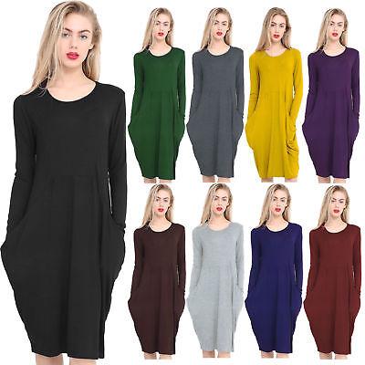 Womens Italian Drape LongSleeve Lagen look Side Pockets Baggy Midi Dress UK 8-26