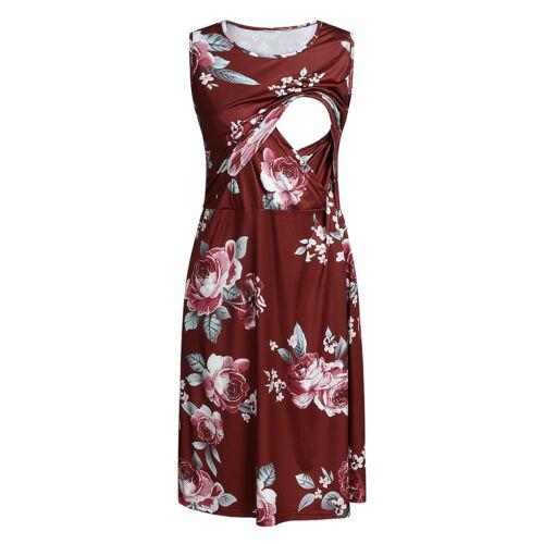 Women Maternity Dress Floral Sleeveless Pocket Nursing Breastfeeding Dress Skirt
