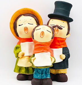 Vtg-Hand-Painted-Ceramic-Christmas-Carolers-by-MY-Made-in-Korea-Set-of-3-NOS