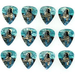 12-Pack-JESUS-STAINED-GLASS-CHURCH-Medium-Gauge-351-Guitar-Pick-Plectrum