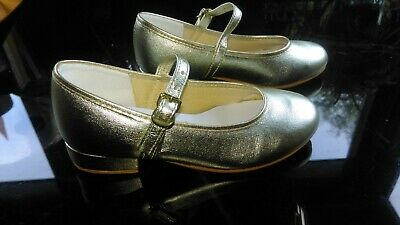 Brioso ???? Nuovo ???? Tappers & Pointers Oro Damigella D'onore Wedding Shoes 10uk Childs-mostra Il Titolo Originale Tecniche Moderne
