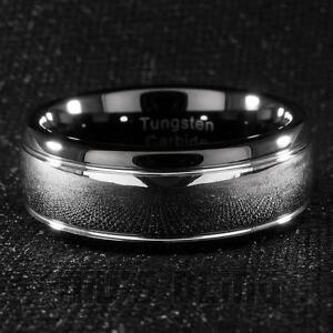 Tungsten Carbide Wedding Band Black Silver Dome Gunmetal Bridal