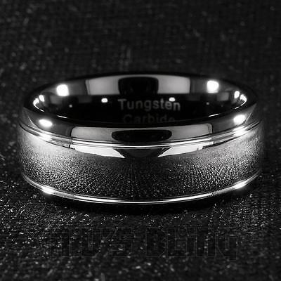 Tungsten Carbide Wedding Band Black Silver Dome Gunmetal Bridal Ring Men 8MM