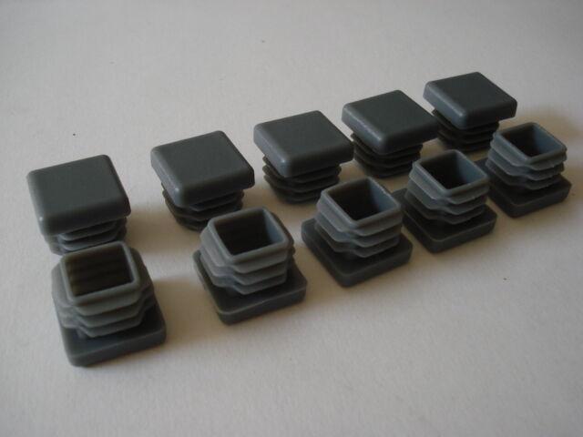 Lot de 10 10 10 embouts bouchons Gris PVC pour tube 20x20 mm carre ailette 65188e