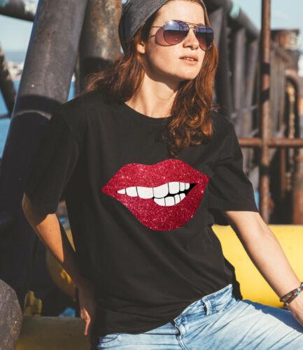 Ladies black unisex loose T-shirt with glitter lips Sizes up to 20UK