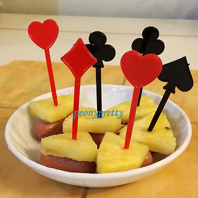 20x playing card food picks fruit cocktail sticks party wedding fest