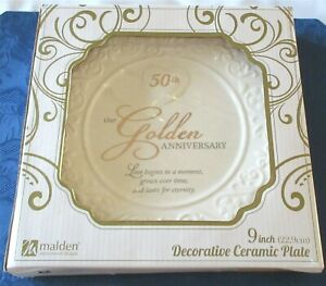 Malden-International-50th-Golden-Wedding-Anniversary-Plate-Brand-New-In-Box