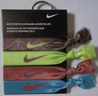 Nike Printed Hairbands Bright Citrus/light Aqua/brown 4 Pack Osfm