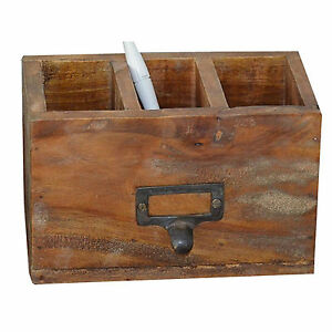 schreibtisch organizer stifte 3 f cher holz holzbox vintage antik massivholz ebay. Black Bedroom Furniture Sets. Home Design Ideas