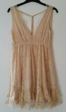 Miss Selfridge lace dress 10 sleeveless cream mini open back New