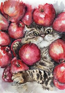 Cat-And-Apples-original-watercolor-animal-painting-pet-kitty-funny-gray-eyes-art