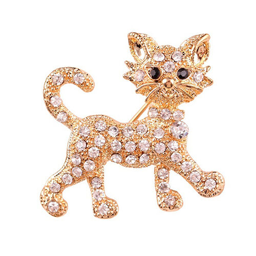 EG_ LADIES FASHION RHINESTONE BROOCH COOL CAT PATTERN DECOR JEWELRY GIFT ORNATE