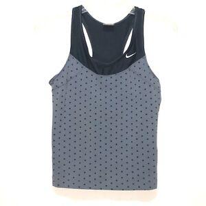 7a958a9c1a55c Details about Women s Nike Bluish Gray   Navy Racer Back Tank Top Shelf Bra  Small