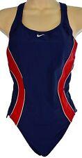 Vintage Nike Swimsuit 12 Women Red Blue One Piece Racerback Bathing Suit M/L 90s
