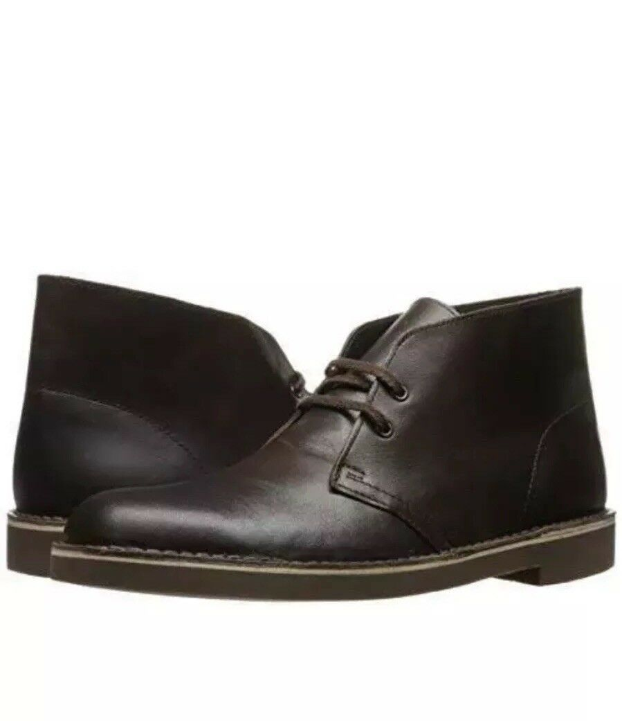 Clarks Men's Bushacre 2 Desert Boots Chocolate Brown Leather Size 8.5G 42.5