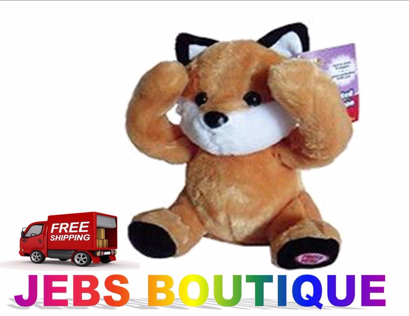 Play Right Peek-a-boo plush animated animal orange Fox plays peekaboo and talks