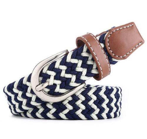 Men Women Silver Pin Buckle Belt Knitted Canvas Crochet Braided Jeans Waistband