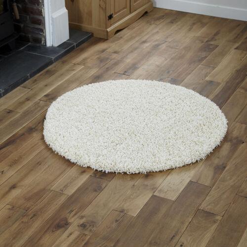 modern large 133cm cream 5cm thick pile circle round plain shaggy rugs