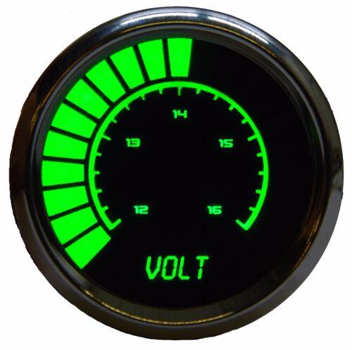 "2 1//16/"" Universal Analog Volt Meter Gauge Green LEDs Chrome Bezel Made In The US"