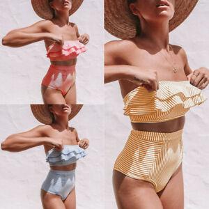 Women Strapless Bandeau High Waist Bikini Set Swimwear Swimsuit Bathing New RC