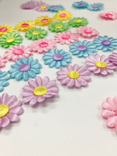 "100 Padded 1/"" Satin 5 Colors Daisy Sun Flower Fabric Applique//Craft//Sewing H84"