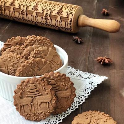 Rouleau à pâtisserie de Noël 7model Rouleau à graver gravé en relief outil de FR