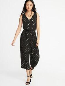 834127aae1d Old Navy Women s Gold Foil Dots Black Waist Defined Sleeveless ...