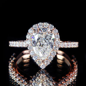 Details about 1.50ct GIA Pear Diamond Vintage Style Pave Halo Engagement  Ring 18K Rose Gold