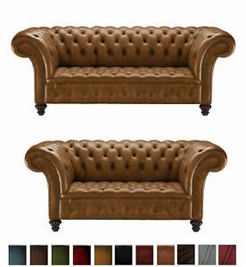 Chesterfield Leather Sofa 3 2 Seater